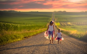 Picture road, children, girls, space, colorful, skirts, Independence day USA, 4-Jul
