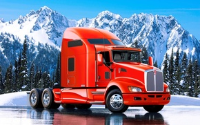 Picture landscape, mountains, truck, tractor, kenworth