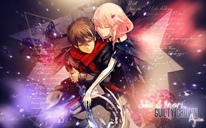Picture hugs, two, guilty crown, pink hair, inori yuzuriha, guilty crown, red scarf, shu ouma, student, …