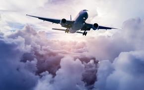 Picture the sky, clouds, the plane, flies, in the air, passenger, high, airliner
