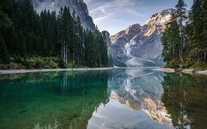 Picture trees, landscape, mountains, lake, reflection, Italy, The Dolomites