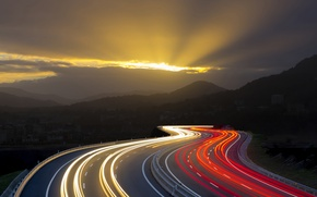 Picture morning, mountains, life, road, feel of speed, macro, light, speed, markup, movement, line, skyscrapers, excerpt, ...