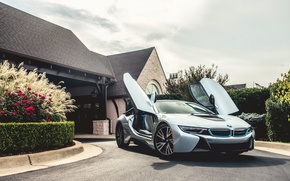 Picture mansion, electric, hybrid, silvery, BMW i8
