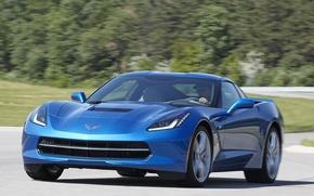 Picture machine, lights, Corvette, Chevrolet, front view, Stingray