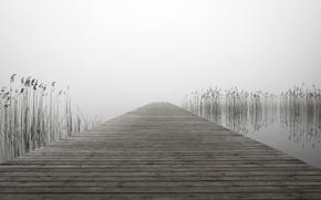 Picture bridge, fog, lake