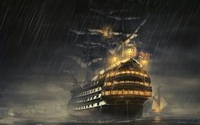 Picture sea, night, rain, ship, sailboat, rain, frigate