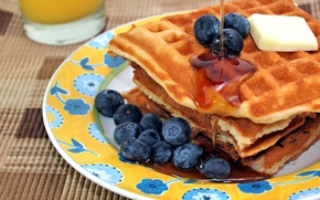 Picture oil, food, juice, honey, waffles, syrup, blueberries