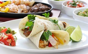 Picture food, lime, tortilla, meat dishes