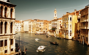 Picture sea, water, people, home, boats, Italy, Venice, channel, architecture, Italy, gondola, Venice