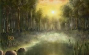 Wallpaper radiation, swamp, sunset