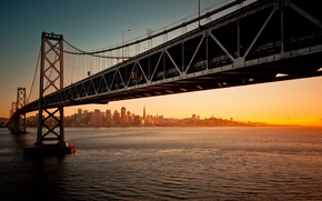Picture water, sunset, bridge, the evening, california, CA, san francisco, San Francisco