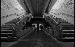 Picture photo, background, Wallpaper, wall, the building, black and white, Graffiti, ladder, old, entrance