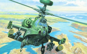 Picture war, art, helicopter, paiting, AH-64D APACHE LONGBOW