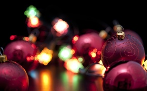 Wallpaper christmas, holiday, Christmas, new year, lights, new year, balls, lanterns