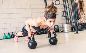 Wallpaper workout, pushups, Russian dumbbell