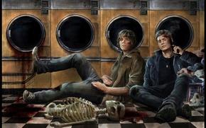 Picture look, gun, weapons, blood, art, skeleton, floor, truck, brothers, Supernatural, Jensen Ackles, Supernatural, Laundry, Dean …
