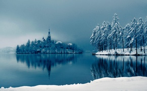 Wallpaper winter, snow, lake, Cathedral, on the island