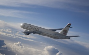 Wallpaper The sky, Clouds, Liner, Flight, The plane, Passenger, Airbus, Jet, A330, Etihad, Airways, Widebody, Airbus