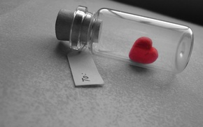 Picture macro, love, mood, gift, heart, bottle, note, love, grey background, heart, recognition, heart, bubble