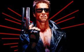 Picture glasses, gun, Arnold Schwarzenegger, Arnie, Terminator