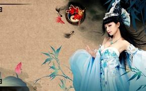 Picture bamboo, brunette, costume, neckline, Asian, headdress, Cosplay