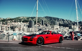 Picture mountains, tuning, island, building, yachts, Mercedes, red, tuning, mountains, sls, amg, yacht, building, SLS, Hamann, …