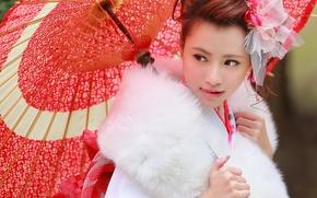 Picture face, style, umbrella, fur, Asian