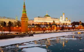 Picture ice, winter, Russia, Moscow, The Kremlin, city, Russia, Moscow, Kremlin, river