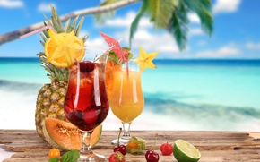 Picture summer, cocktail, summer, food, melon, cherry, strawberry, cocktail, lime, fruits, pineapple, glasses, coconut, cocktails