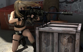 Wallpaper girl, face, pose, weapons, hair, glasses, blonde, gloves, box, sniper rifle