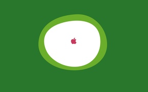 Wallpaper minimalism, green, background, white, apple, Apple, oval, logo, round, icon
