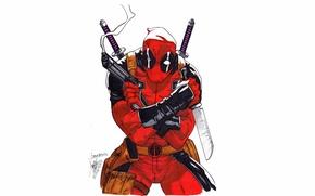 Picture Gun, Knife, Sword, Deadpool, Marvel, Deadpool, Wade Wilson