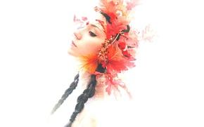 Wallpaper girl, eyes, crown, lips, hair
