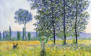 Picture trees, landscape, picture, meadow, poplar, Claude Monet, Sunlight Effect under the Poplars