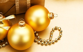 Picture winter, balls, decoration, toys, New Year, Christmas, gifts, beads, the scenery, Christmas, gold, holidays, New …