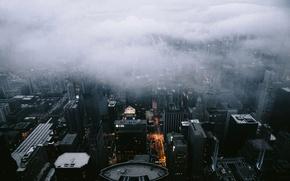 Picture Architecture, Landscape, Fog, Clouds, City, Scape, Chicago