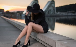 Picture girl, the city, shoes, hat, legs, Anders Hansen, Elin