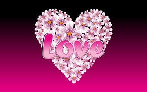 Picture love, the inscription, heart, love, flowers, LOVE