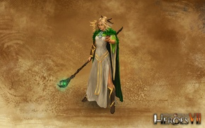 Picture Druid, Elf, Staff, Might & Magic 7, Heroes of might and magic 7, Forest Alliance