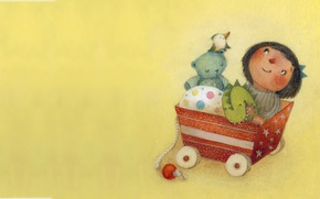 Picture toy, figure, art, wagon, children's
