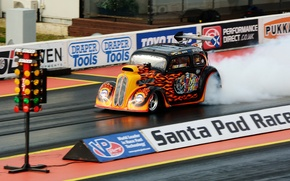 Picture race, smoke, wheel, muscle car, drag racing