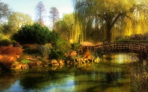 Picture Park, bridge, landscape, garden, trees, the bushes, autumn, haze, the sky, pond, stones