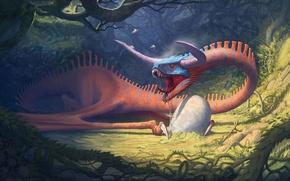 Picture fantasy, dragon, egg, art, masonry