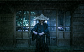 Picture background, rain, sword, katana, samurai, male