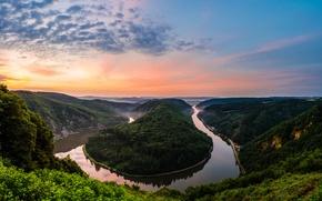 Picture river, Germany, resort, gyrus, Saarschleife - Mettlach Orscholz, natural Park