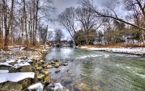 Picture winter, snow, river, landscape, winter, snow
