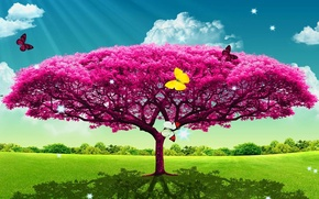 Picture summer, rendering, tree, art, Babicka