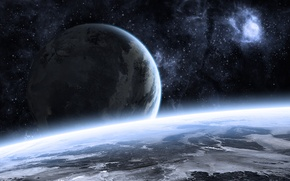 Picture blue, art, stars, planets, Sci Fi, kosmos