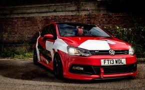 Picture Volkswagen, Red, design, Custom, Polo, Camo