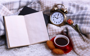 Picture morning, coffee, roses, clock